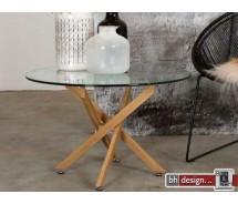 Luri Couchtisch Glas und Eiche HN by Canett Design 80 cm rund mit Sterngestell