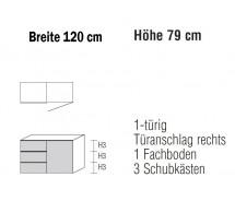 Sidebard Alegro2 Style by Nolte Möbel, 120  x 79 cm, 3 Schubkästen, 1 Tür , verschiedene Farben