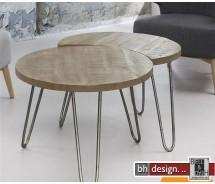 Nature Line 2-Satz Tisch mit Metallfüßen  in Mangoholz massiv  je 60 x H 45 cm