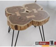 Lara Couchtisch quadratisch, 50 cm bestehend aus 4 Baumstämmen