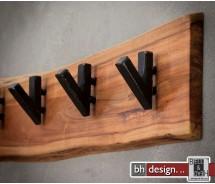 Garderobe Baumkante Edge Massivholz Akazie mit 5 Haken 60 cm x 15 cm