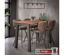 Edge Bartisch Baumkante Akazienholz  und Grau Metall massiv  145 x 80 x  H 92 cm