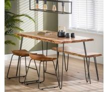 Baumstamm Esstisch  Modell Edge, massiv Akazienholz 130 x 70 cm