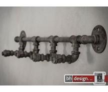 Industrie Line Garderobe, Wasserrohr Style, alt Silber finish, 4 Haken, 70 x 10 cm