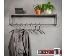 Garderobe, Wasserrohr Style, alt Silber finish, Stange und Hutablage, 90 x 30 cm
