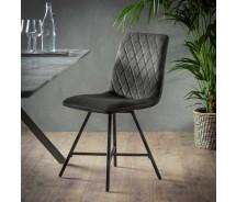 Diamant Stuhl mit Kreuzsteppung Samtoptik dunkelgrau oder Champagner