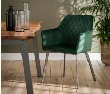 Soft Line Armlehnstuhl mit Samtoptik dunkelgrau, alternativ olivgrün