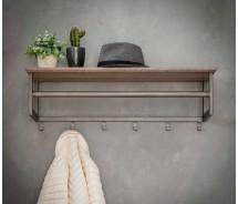 Carry Line Garderobe mit 6 Haken und Hutablage  Vintage Look 80 cm x 24 cm
