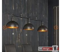 Factory Line Hängelampe 3-er Set  gebranntes Metall Schwarz 118 x H 150 cm