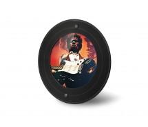 Runder Bilder-Rahmen aus echter Vinyl-Schallplatte (7 Zoll Maxi bzw. Single) mit rundem Bildausschnitt