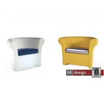 Kalla Designsessel weiss beleuchtet