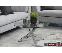 Star Couchtisch Glas und Stahl verchromt 82 cm rund