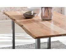 Baumkante Esstisch massiv Akazienholz natur  160 x 85 cm, 2 Beinvarianten