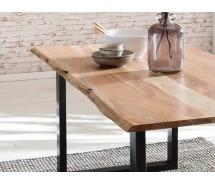 Baumkante Esstisch massiv Akazienholz natur  180 x 90 cm, 2 Beinvarianten