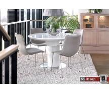 Bling Esstisch/Säulentisch  by Canett Design Edelstahl mit Weiss HG 120 cm rund und ausziehbar