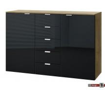 Express Möbel Kommode Carina , 5 Schubkästen, 2 Türen, Front verschiedene Glasvarianten, 140 x 100 cm