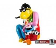 Skulptur Crazy Monkey Multicolor mit Zigarre u. Brille by Crazy Zoo 44 x H 58 x T 36 cm