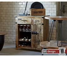 Factory Weinregal oder Barschrank by Canett Design, Mangoholz natur, 1 Tür 2 Schubladen