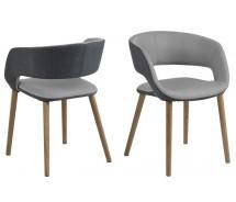 Grace Designstuhl im Retrolook und Eichebeinen rund  in 2 Grauvarianten