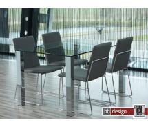 Kante Esstisch Klarglas und Chrombeine 140 x 90 cm
