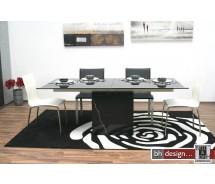 Grazie Esstisch Marmor und Schwarzglas ausziehbar von 200 bis 245 cm