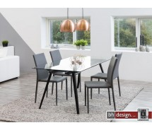 Monti  Esstisch / Konferenztisch Klarglas mit Stahlgestell schwarz 180 x 90 cm