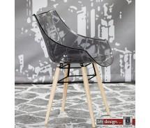 Premiere Designstuhl aus hochwertigem Kunststoff mit Holzgestell in verschiedenen Farben