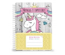 Notizbuch, Tagebuch UNICORN DIN A5 mit einem niedlichen, süßen Einhorn, Regenbogen und Wolken 70 Blatt (80 g/m²)