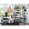 Monta Couchtisch, Industrie Look by Canett Design, Metall schwarz und Mangoholz auf Rollen, L120 x B 70 cm