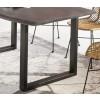 Baumkante Esstisch massiv Akazienholz antikgrau 200 x 100 cm x 3,6 cm, 2 Beinvarianten