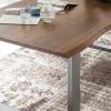 Baumkante Esstisch massiv Akazienholz antikbraun verschiedene Größen, 2 Beinvarianten